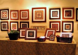 Ninepatch miniature quilts displayedat the Wilton Show
